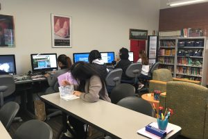 Students working in the ESL Study Center